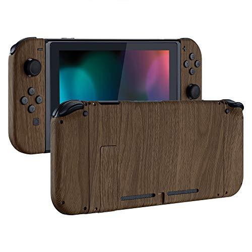 eXtremeRate Cover con Kit di Pulsanti Ricambio per Nintendo Switch,Soft Grip Custodia Posteriore Console Case Guscio Joy-Con Controller DIY Ricambio per Nintendo Switch(Venatura del Legno)