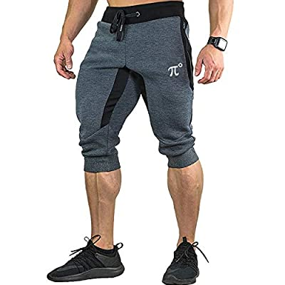 PIDOGYM Men's 3/4 Joggers Capri Casual Pants Running Gym Shorts with Zipper Pockets,Dark Grey,Large