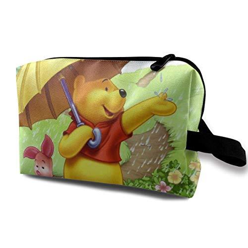 The Pooh - Bolsa de maquillaje de viaje con muñequera, bolsa de aseo portátil con cremallera para niñas y mujeres