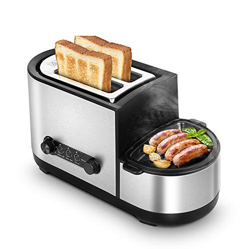 DIDIOI Brotmaschine, elektrische Toaster Brot Sandwich Ofen Fleisch Braten Grill gebratenes Steak Eiomelett Bratpfanne Dampfgarer Eggs Wilderer-Dampfkessel