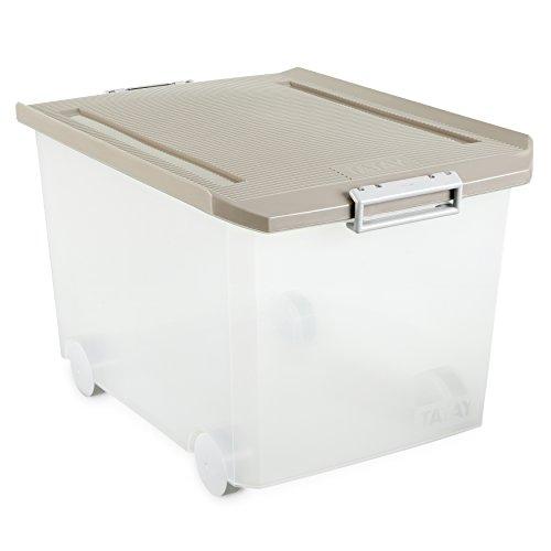 Tatay - Caja de Almacenaje Multiusos Bajo Cama con Tapa y Ruedas de 60 L de Capacidad. Plástico Polipropileno Libre de BPA. Forma Rectangular, Beige, Medidas 56.5 x 40 x 36.2 cm (L x An x Al)