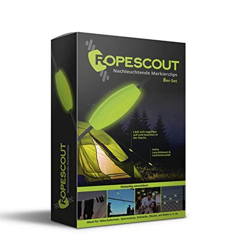 DS Produkte GmbH ROPESCOUT nachleuchtende Markierclips 8er Set | Für Zeltspannseile, Volleyballnetze u.v.m. | Made in Germany [hohe Leuchtkraft, Lange Leuchtdauer]