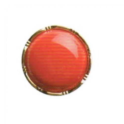 Hemline Couleur Bouton rond solide avec bord en métal 15 mm-Rouge-Lot de 4