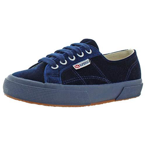 Superga Womens 2750 Velvet Low-Top Sneakers Blue 6.5 Medium (B,M)