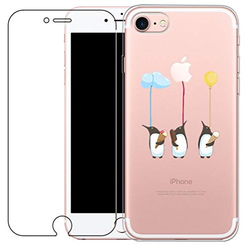 iPhone 7 / 8 Custodia [con Vetro Temperato Screen Protector Film] [Bellissimo Modello] Blossom01 Cover Ultra Sottile in Gel Morbido TPU Silicone Case per iPhone 7 / 8 - Pinguino
