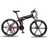 LXLTLB Bicicleta Plegable Folding Bike 26in Bicicleta Eléctrica Plegable de Montaña 36V 12.8HA Batería de Litio 21 Velocidades Adulto E-Bike Refuerzo de Freno de Disco