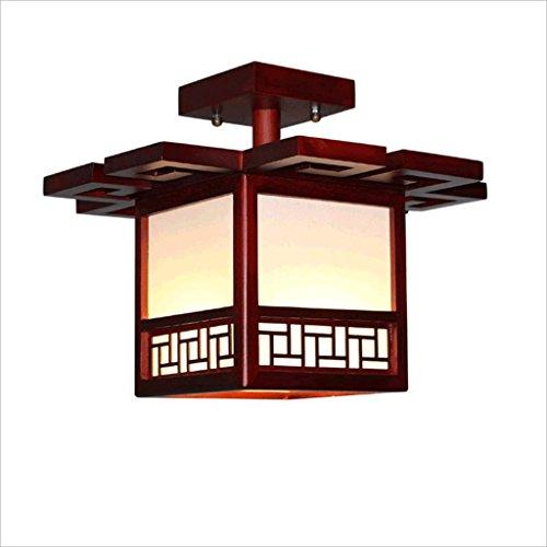 PIAOLING Nouvelle Lampe de Plafond Chinoise, Bois Solide Moderne créative a mené Le Plafond économiseur d'énergie, éclairage carré de Couloir de Chambre à Coucher de Balcon de pièce