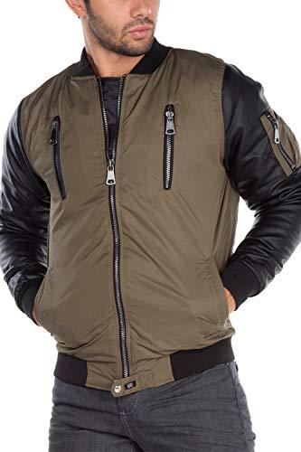 Cipo & Baxx Chaqueta bomber para hombre, chaqueta de entretiempo con mangas de piel roquera caqui M