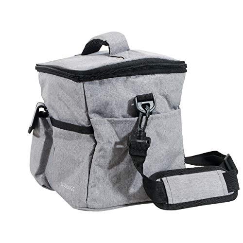 Riloer Bolsa de aluminio de gran capacidad de aislamiento de refrigeración y calentador plegable de un solo hombro bolsa de almuerzo bolsa de camping, gris