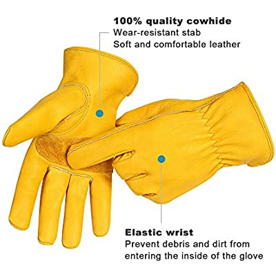 with Wrist Small, Yellow Farm Work Gloves Leather Men Women Construction Warehouse Motorcycle Acdyion Outdoor New Wear-Resisting Puncture-Proof Working Gloves for Yard Work Gardening