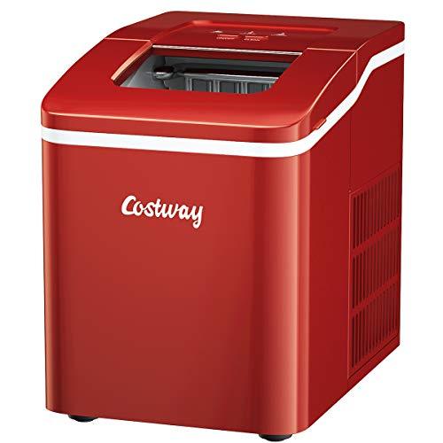 Posdutti Máquina para hacer hielo para encimera, cubos de hielo en forma de bala, listo en 8 minutos, 26 lbs/24H máquina de hielo eléctrica portátil con cesta y cuchara, función de autolimpieza, perfecto para oficina en casa (rojo)