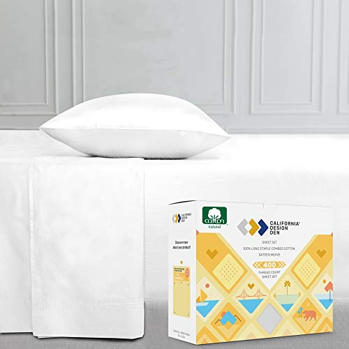 400 Thread Count Solid Twin XL Sheet Set (3 pc, Pure White) - Long Staple Combed Pure Natural 100% Cotton Bedsheets, Soft & Silky Sateen Weave Sheets by California Design Den