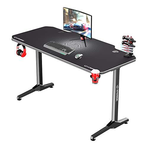 Ultradesk Frag Weiß - Computertisch, Schreibtisch, Gaming Tisch mit Mauspad und Zubehör, L: 140cm T: 66cm H: 76cm