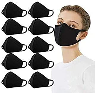 Fashion Protective, Reusable Cotton Fabric with Elastic Ear Loop, Unisex Black Dust Cotton, Washable-10 Pack