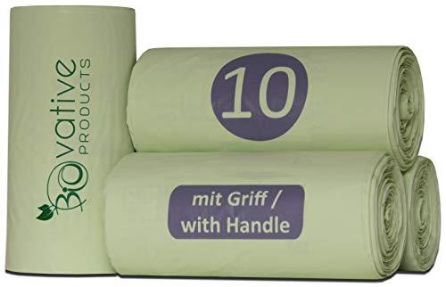 Bolsas de basura orgánica compostable 10L con y sin asa - 100% compostable y biodegradable - 100 piezas. Bolsas de basura orgánica de 10 litros con y sin mango para su basura orgánica y compost.
