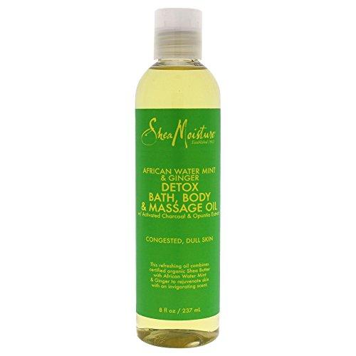 Shea Moisture African Water Mint & Ginger Detox Bath-Body & Massage Oil for Unisex, 8 Ounce