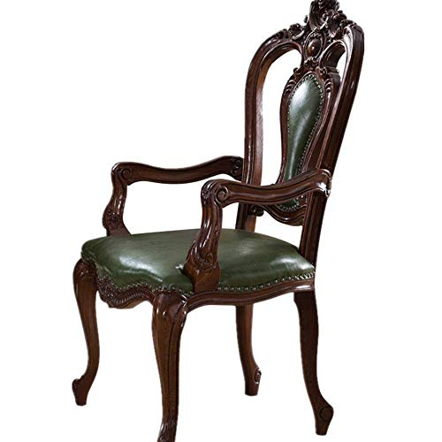 NBVCX Home Accessories Office Chair Carved Wooden Chair American Book Simple Office Chairs With Armrests Office Chair Leisure Computer Desk Chair (Color : Green Size : 60.5x51x111cm)