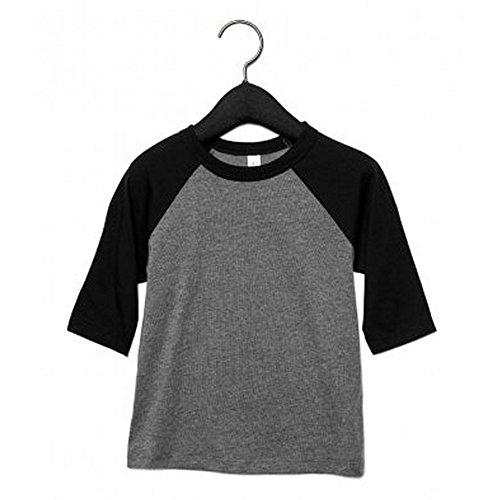 Bella+Canvas Kleinkinder 3/4 Ärmel Baseball T-Shirt (5 Jahre (110)) (Grau Meliert/Schwarz)