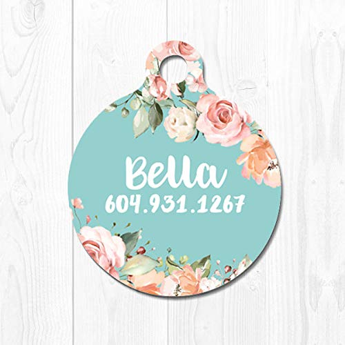Cat Tag Pet ID Dog Tags for Dogs Personalized Pet Tag Cat ID Tag Mint Pet ID Tag Dog Collar Tag Dog Name Tag Peach Floral Pink Cute 3071
