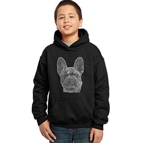 LA Pop Art Boy's Word Art Hooded Sweatshirt - French Bulldog Black Casual Long Sleeve Small