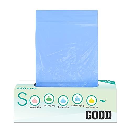 Bolsas de Basura, 220 Bolsas de Basura Desodorante, Extra Ggruesas y Fuertes, Prueba de Fugas, para Residuos de Cocina Caca de Mascota Pañales de Bebé 0.6L(Azul)