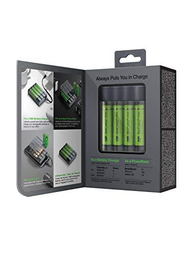 GP Batteries Charge Anyway X411, Portable Powerbank und Rundzellen Akku-Ladegerät NiMH Micro (AAA), Mignon (AA), inkl. 4X Akkus AA