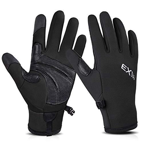 EXski Winter Gloves for Men Women, Touch Screen Anti-Slip Gloves for Running Hiking Driving Outdoors Activities Black Medium