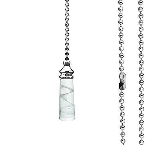 LERT Cadena de Ventilador cilíndrica de vidrio, interior con diseño en espiral, para ventilador de techo/cortina de puerta/decoración de luz/cadena de interruptor, 1 pieza