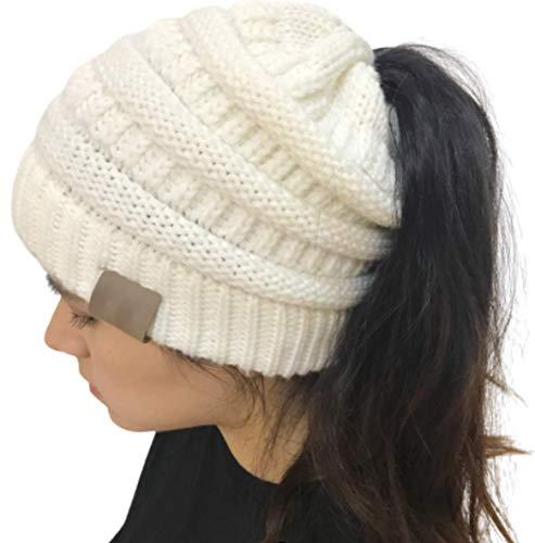 Ponytail Beanie by CC - Bonnet Femme pour Queue de Cheval - Trou pour Cheveux et Chignon - Collection Automne/Hiver 2021 - Unixex/Taille Unique Filles & Femmes (Blanc Classe)