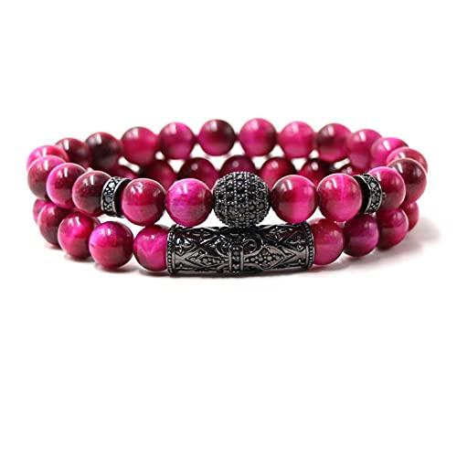 QYAQ Stone Bracelet For Women,7 Chakra Natural Rose Red Tiger Eye Stone Bead Bracelet Black Copper Tube Elasticity Bangle Boho Style Woman Jewelry Yoga Gift Girlfriend Mom