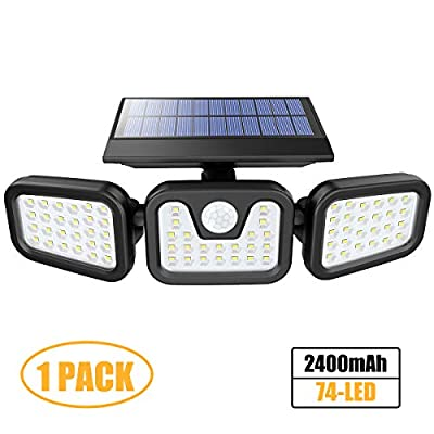Solar Lights Outdoor with Motion Sensor, 3 Heads Security Lights Solar Powered, 74LED Flood Lights Motion Detected Spotlights 360° Rotatable IP65 Waterproof for Porch Garage Yard Entryways Patio-1PCS