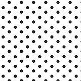 babrause® Baumwollstoff Punkte Weiß Schwarz Webware
