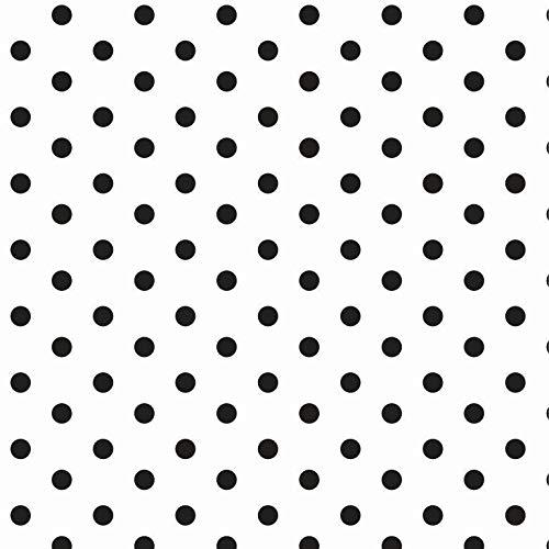 babrause® Baumwollstoff Punkte Weiß Schwarz Webware Meterware Popeline OEKOTEX 150cm breit - Ab 0,5 Meter