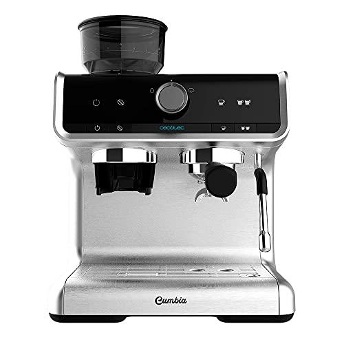 Cecotec Cafetera Express con Brazo con Doble Salida Power Espresso 20 Barista Cream. 1550 W, 20 Bares, Depósito de Café en Grano 250g, Molinillo con 30 Niveles, Thermoblock, Depósito de Agua 2,5 L