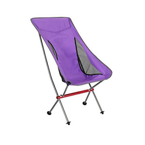 ZLGP Silla de camping plegable, ligera silla de pesca al aire libre con bolsa de transporte para mochileros, viajes, picnic, pesca, tumbona de playa para sentarse y mentira, color morado