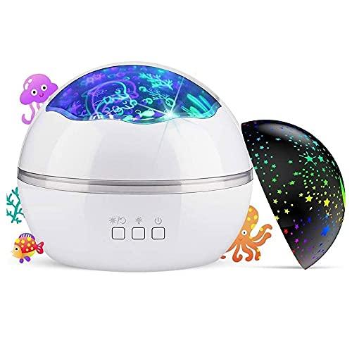 TRPYA Proyector de luz Nocturna, 360 ° Rotating LED Luces nocturnas Proyector Océano Submarino Lámpara y proyector Estrellado para niños Decoración de Dormitorio para niños