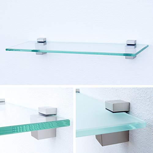 Glasregal 700x200x8mm | Klarglas + Halterung G - Chrom glanz optik