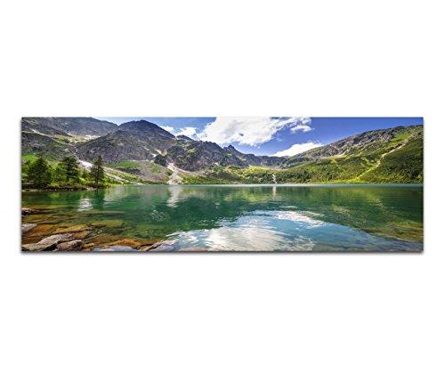 Paul Sinus Art Panoramabild auf Leinwand und Keilrahmen 120x40cm Polen Berge Bergsee Wolken Natur