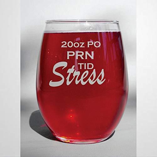 PRN TID - Copa de vino para enfermería sin tallo, 445 ml para vino rojo y blanco, regalo de enfermera con prescripción de vidrio transparente, regalo de despedida de soltera para hombres y mujeres