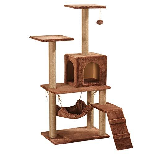 H-ei 130 Centimetri Tiragraffi Cat House, Multilevel Cat Activity Play Center Mobili con Sfera della Pelliccia/Scale/Tiragraffi
