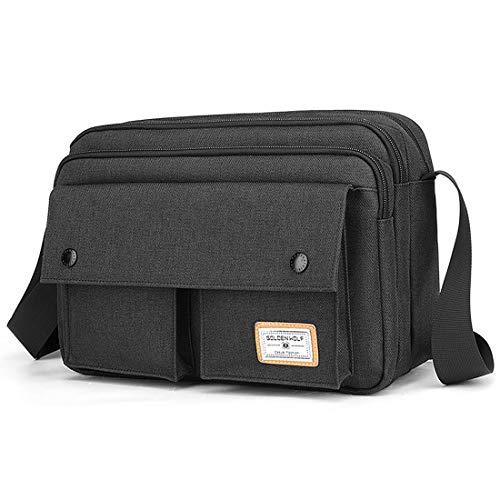 BAIGIO Canvas Crossbody Messenger Bag for Men - Small Casual Satchel Shoulder Bag for Work School Daily Use (Black - horizontal)