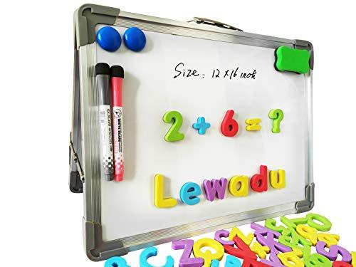 Magnetisches Whiteboard Doppelseitig Abwischbar Weiße Tafel Faltbares Desktop-Whiteboard Mit 80 Magnetische Groß-und Kleinbuchstaben aus Weichschaum für Kinder Zeichnen Lernspielzeug 30*40cm (Silber)