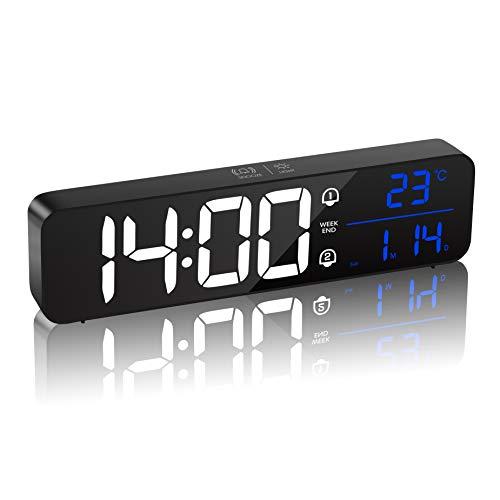 MQUPIN Digital väckarklocka med temperatur och datum, uppladdningsbar spegel nattduksbord klocka LED-skärm med 40 musik, dubbelt larm, snooze, 5 nivåer ljusstyrka, strömförvaring, för sovrum, kontor (svart)
