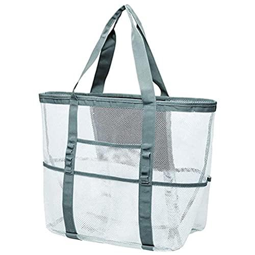 Roexboz Bolsa de playa de malla, extra grande, plegable, para familia, bolsa de malla, suave, bolsa de pícnic con cremallera y varios bolsillos para picnic de playa
