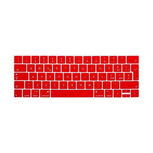Funda de silicona para teclado MacBook Pro Retina 2016 de 13 pulgadas y 15 pulgadas con Touch Id y Touchbar Euro Eu Italiano Italiano-Rojo