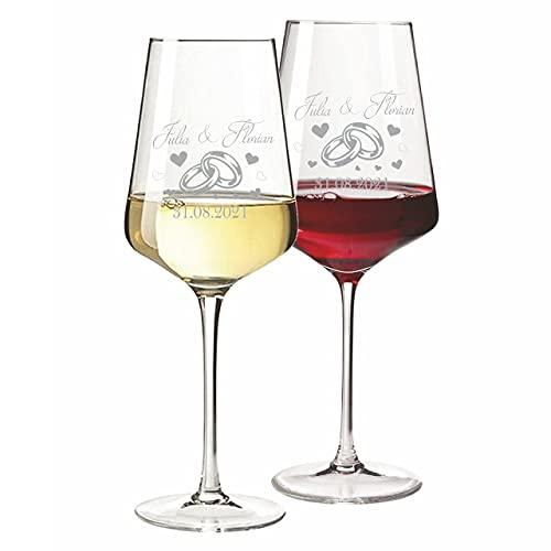 FORYOU24 2 Leonardo Weingläser mit Gravur Ringe zur Hochzeit Geschenkidee Wein-Gläser graviert