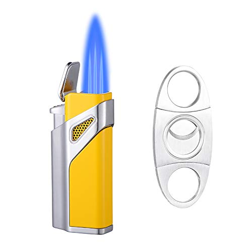 Torch Lighter, Lighter Set and Cigar Cutter, Triple Jet Flame Torch Lighters, Windproof Butane Refillable Gas Torch Lighters (Sales Without Gas)