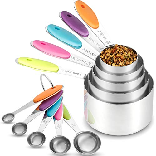 Klee Utensils 10-Piece Colorful Stainless Steel Measuring Cups and Spoons Set