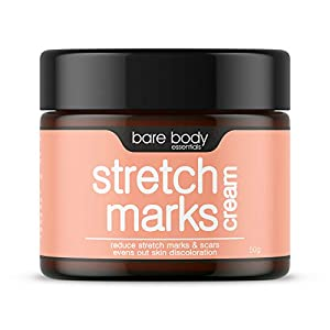 bare body essentials Cream to Reduce Stretch Marks, Scars, Spots, Discolouration, Tone, Nourish, Tighten, Evens out, Brightens, for all skin type - 50 gm