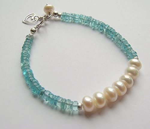 White trust Cultured Rondelle Pearl with Heart Ster Apatite All items free shipping Blue Charm